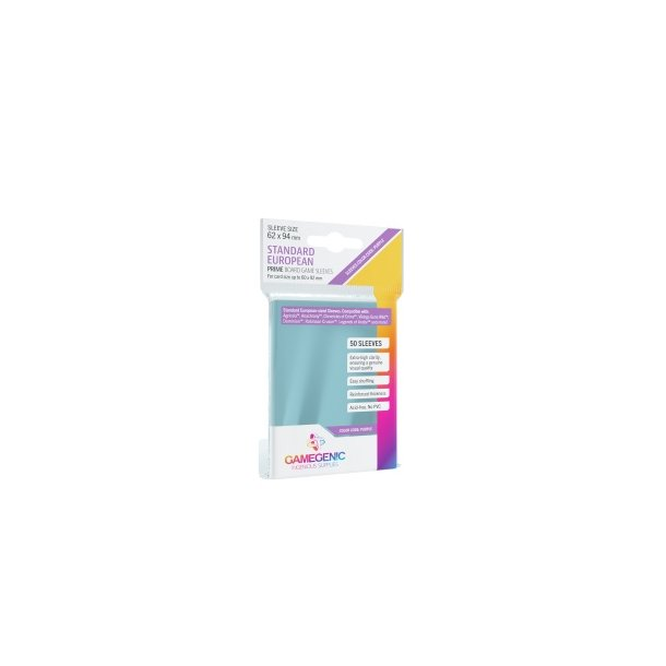 Gamegenic - PRIME Standard European-Sized Sleeves 62 x 94 mm - Clear (50 Sleeves)