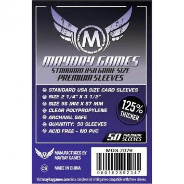 Mayday Games Clear 50ct Standard USA Premium Card Sleeves
